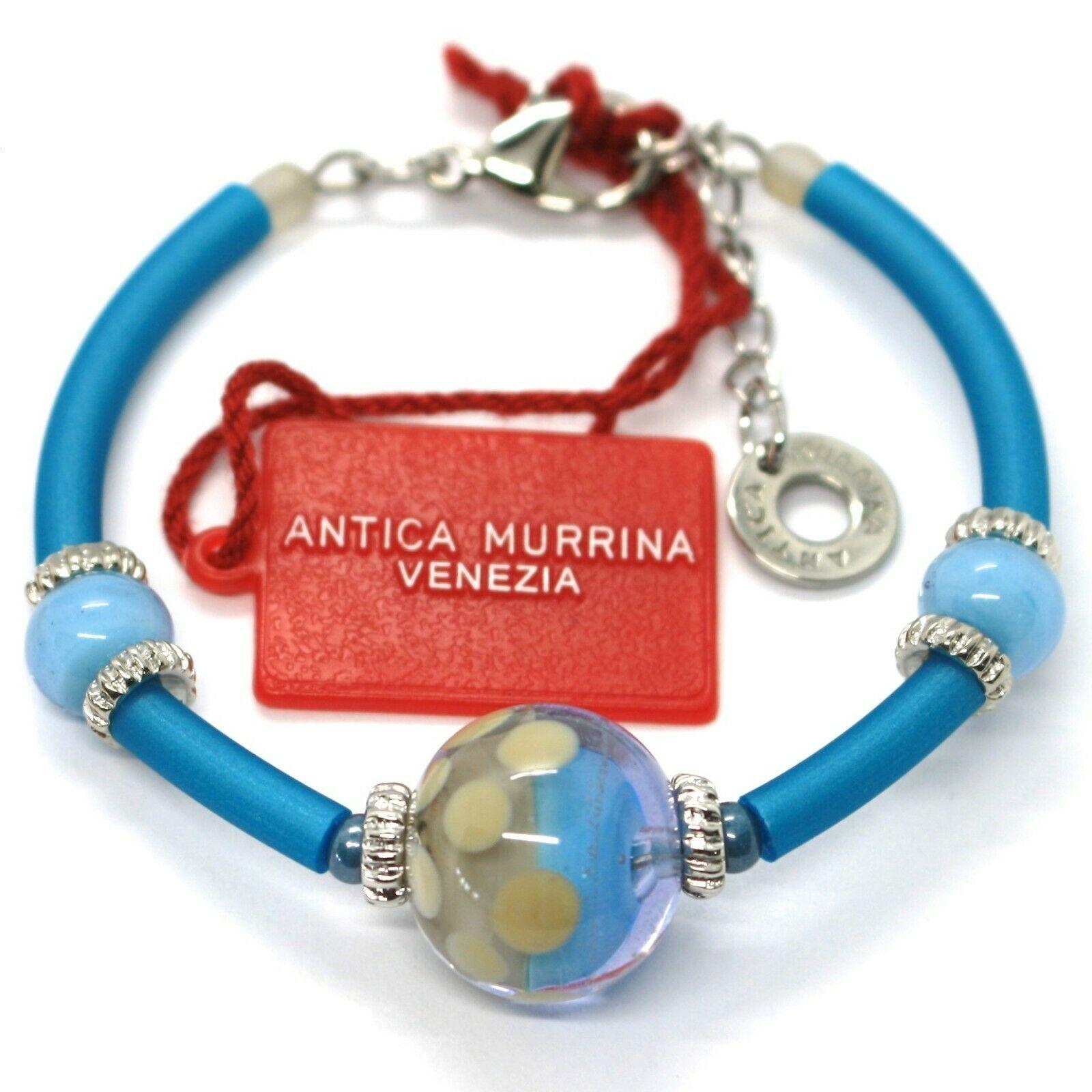 Bracelet Antica Murrina Venezia, BR718A07, Light Blue, Sphere Polka dot, Sized