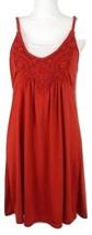 American Rag Cie Mini Dress Size Medium Rust White Applique Braided Straps  - $14.99