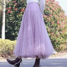 Black Party Skirt Outift  Long Tulle Skirt Plus Size Black Tutu Skirt Pearl deco image 5