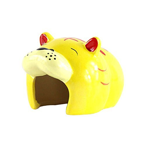 Primary image for Panda Legends Cute Tiger Shape Ceramic Hamster Hideout Hut Cave Small Animals Su