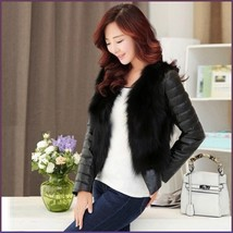 Black PU Leather Long Sleeve Faux Fur Vest Back n Front Short Waist Coat Jacket