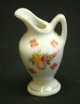 Vintage Mini Ceramic Pitcher Cherry Blossom Design & Gold Trim Shadowbox Decor a - $6.92