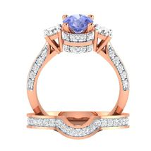 Blue Tanzanite & White CZ Diamond Engagement Bridal Ring Set Rose Gold Fn - $95.99
