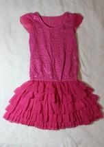 Children's Place Girls Dress Size M 7 8 Pink Sequin Ruffle Tier Spring Summer - $19.79