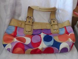 Coach Poppy purple, red, blue print with tan trim satchel shoulder bag  ... - ₹3,490.35 INR