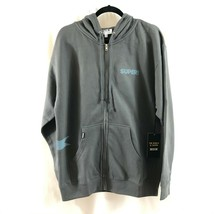 Super Brand Mens Hoodie Full Zip Pockets Logo Gray Size L - $19.34
