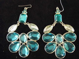 Vintage Pair Large Dangling Pierced Earrings Gems Aqua Costume Fashion J... - $9.66