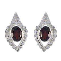 classy Garnet 925 Sterling Silver Red Earring genuine jaipur US gift - $23.75