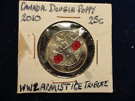 2010 RED DOUBLE POPPY CANADIAN QUARTER--BEAUTIFUL COIN--L@@K  COMBINED S... - $5.94