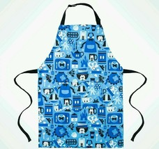 NWT Disney Parks Mickey Mouse Kitchen Pattern Blue Chef Apron Adult Size - $34.60