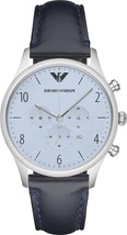 Emporio Armani AR1889 Men's Blue Chronograph Dial Leather Band Watch NEW... - $164.99