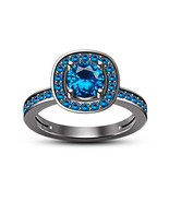 Blue Topaz Stones Womens Wedding Halo Engagement Ring 925 Sterling Solid... - $78.99