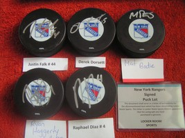 NHL New York Rangers Signed Autograph Puck W/ COA Lot Of 5 X 14.95 Total $74.75 - $74.20
