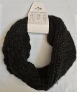 NWT VERA Black Silver Metallic Infinity Loop Knit Scarf One Size OS - $8.99