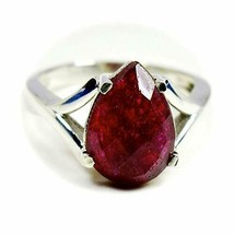 Genuine Red Indian Ruby Pear Prong Setting 925 Silver Ring For Women Siz... - £32.56 GBP