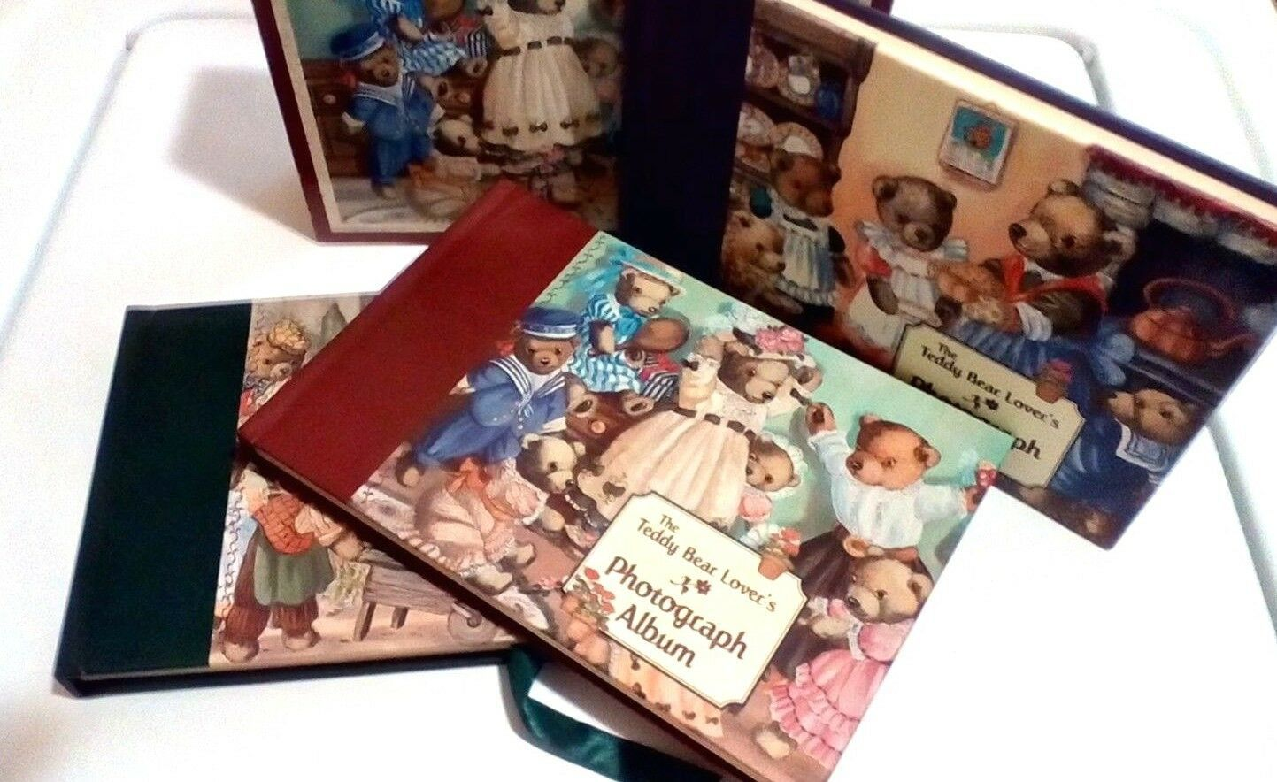 Primary image for The Teddy Bear Lover's Photograph Album Set Purple Green Burgundy Red Books
