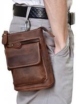 Men's Genuine Leather Waist Pack Cow Leather Messenger Bag Belt Bum Bag (brown1) - $49.93