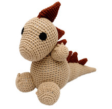 Brown Dinosaurs Handmade Amigurumi Stuffed Toy Knit Crochet Doll VAC - $23.76