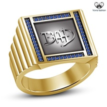 Blue Sapphire Yellow Gold Plated 925 Silver Michael Jackson Band Ring For Men's - $114.67