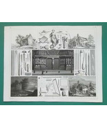 ART OF ENGRAVING Types Tools Etching Dry Point  - SUPERB 1844 Antique Print - $39.60