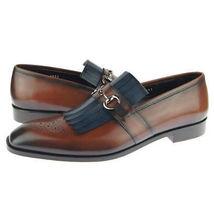 Brown Color Burnished Brogues Toe Handmade Men Moccasin Loiafer Slip Ons Shoes - $139.90+