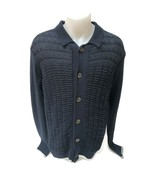 Seven for All Mankind Men's Knitted Sweater Button Up Navy Collared Size M - $23.34