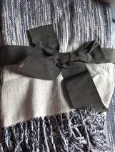 Threshold Lightweight Blue Cream Fringe Throw Blanket New - $13.49