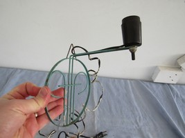 Vintage Wall Light Fixture Shabby Metal Wire Painted - $19.82