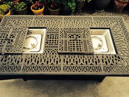 Outdoor Propane Fire Pit bar height double burner table Elisabeth aluminum patio image 5