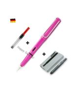 Lamy Safari Fountain Pen Pink F Nib with Free Converter + 5 black T10 ink - $26.17