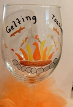 Getting Toasted Wine Goblet Hand Painted Glass Gifts Barware Fall Marshm... - $12.00