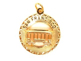 San Francisco Gold Filled Vintage Cable Car Charm Signed CREA 12K GF Dis... - $27.67