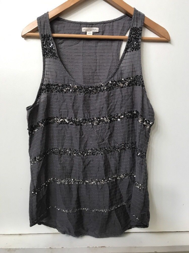 American Eagle Outfitters Gray Sequined Striped Sleeveless Tank Top Womens sz 8 - $12.95