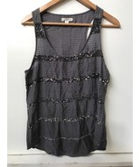 American Eagle Outfitters Gray Sequined Striped Sleeveless Tank Top Wome... - $12.95