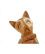 Carved Wood Sad Cat Wearing Bowtie Figurine Figure Beautiful Grain Kitty... - $15.79
