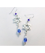Hanukkah Star of David Charm Teardrop Earrings Handmade - $18.00