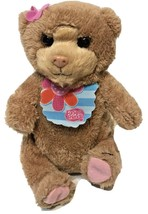 """FurReal Friends Bear 2012 Hasbro 8"""" Brown with Bib and Pink Bow Tested - $8.64"""