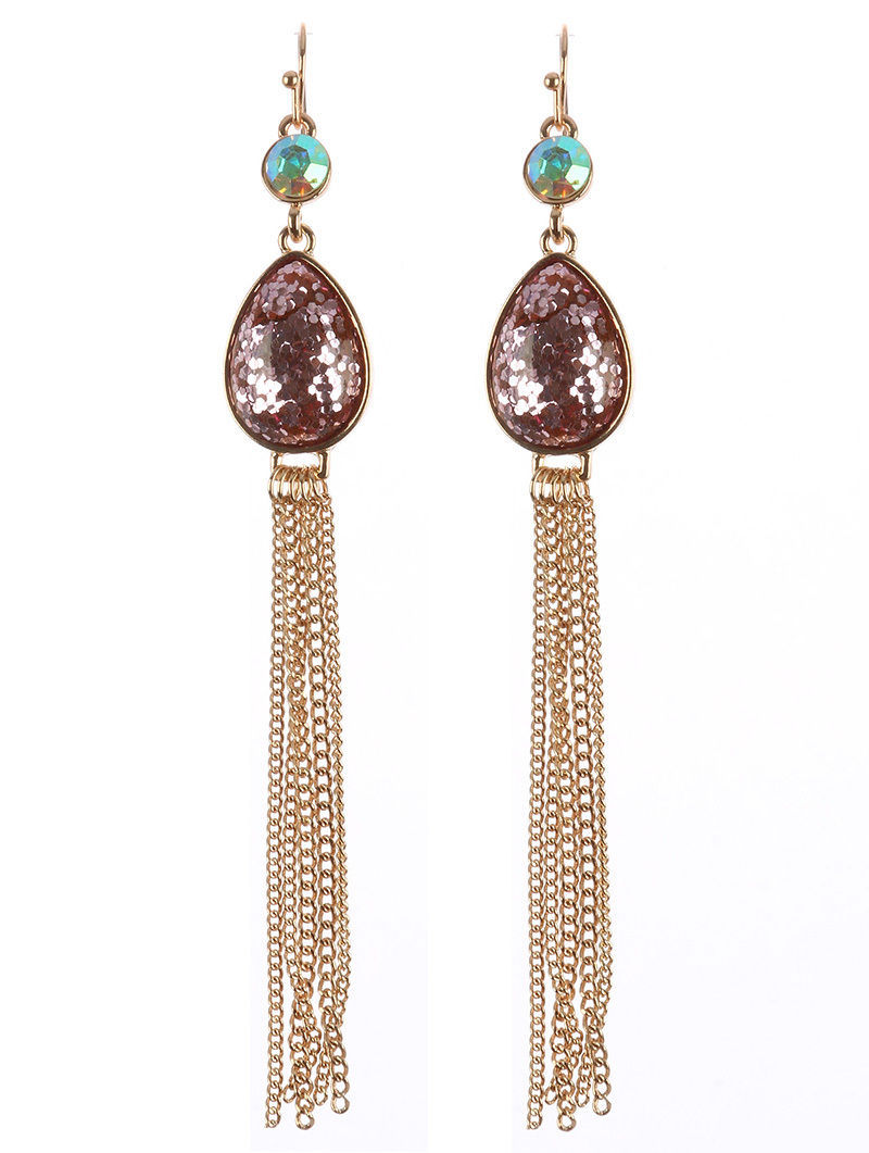 "Teardrop Glitter Tassel Long Dangle Earrings 4"" Goldtone Purple"