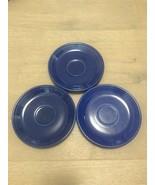 "3 VINTAGE FIESTA COBALT BLUE 6"" SAUCER CUPS PLATE HOMER LAUGHLIN HLC FIE... - $30.00"