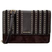 Michael Kors Brooklyn Grommet Large Leather Crossbody Bag in Black - $178.20
