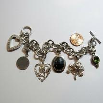 Vintage Sterling Silver Toggle Clasp 11mm Heart Rose Charm Bracelet 54.2 Grams - $127.71