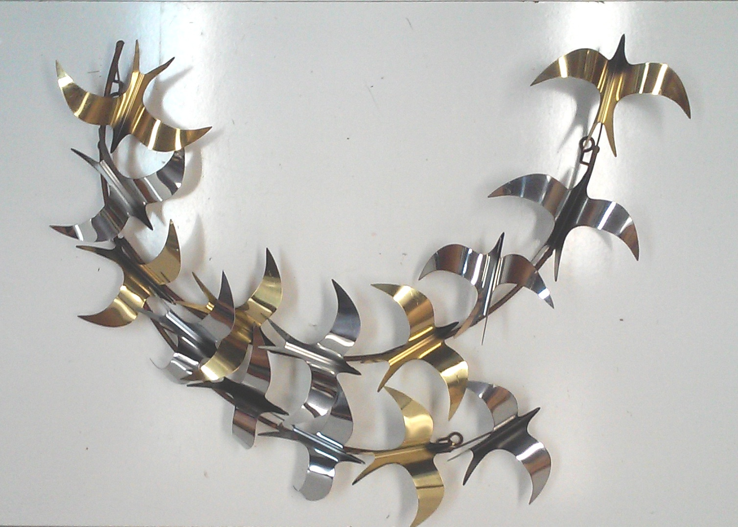 Vintage Curtis Jere Brass and Chrome Birds Wall Sculpture