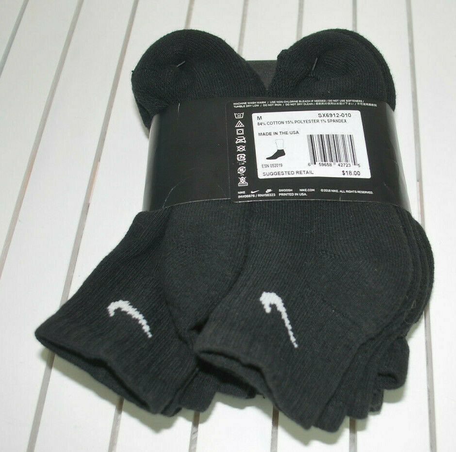 Nike Cushioned Ankle Socks Black Youth Medium M Boys 5Y-7Y Dri-Fit NEW Pkg 6 PR image 2