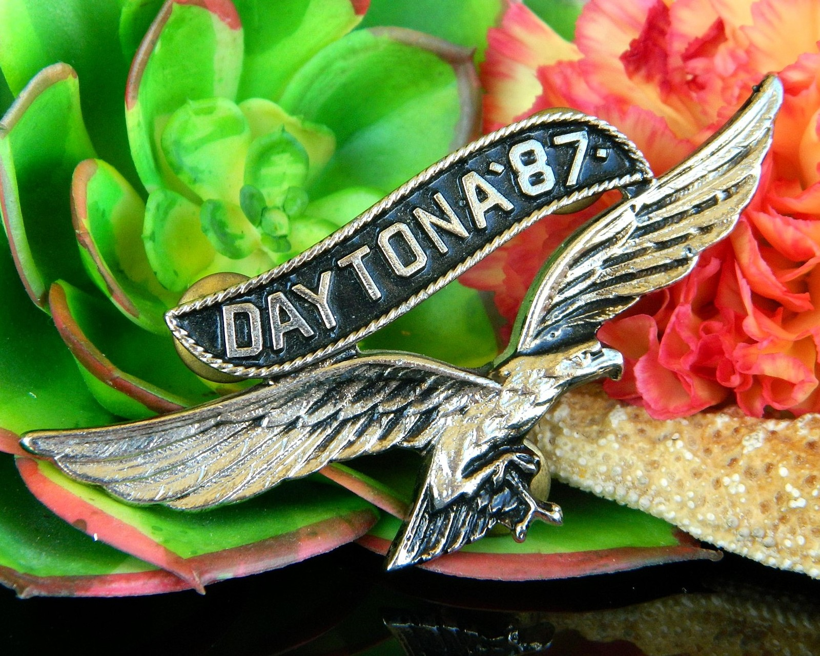 Primary image for Vintage Daytona 1987 Motorcycle Rally Soaring Eagle Pin Jacket Biker