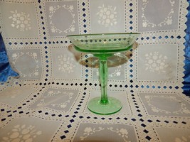 """Vintage Green Clear Glass Footed Compote 6.5"""" H. 6"""" W - $14.80"""