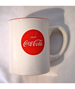 Coca Cola Mug Extra Bright Refreshment Enjoy Coca Cola Button 12 oz - $8.99