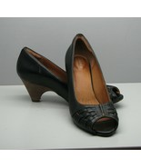 """Clarks Artisan Woman's SHOES 7 B Black Leather Stacked 2 1/4"""" Heel Open Toe - $15.83"""