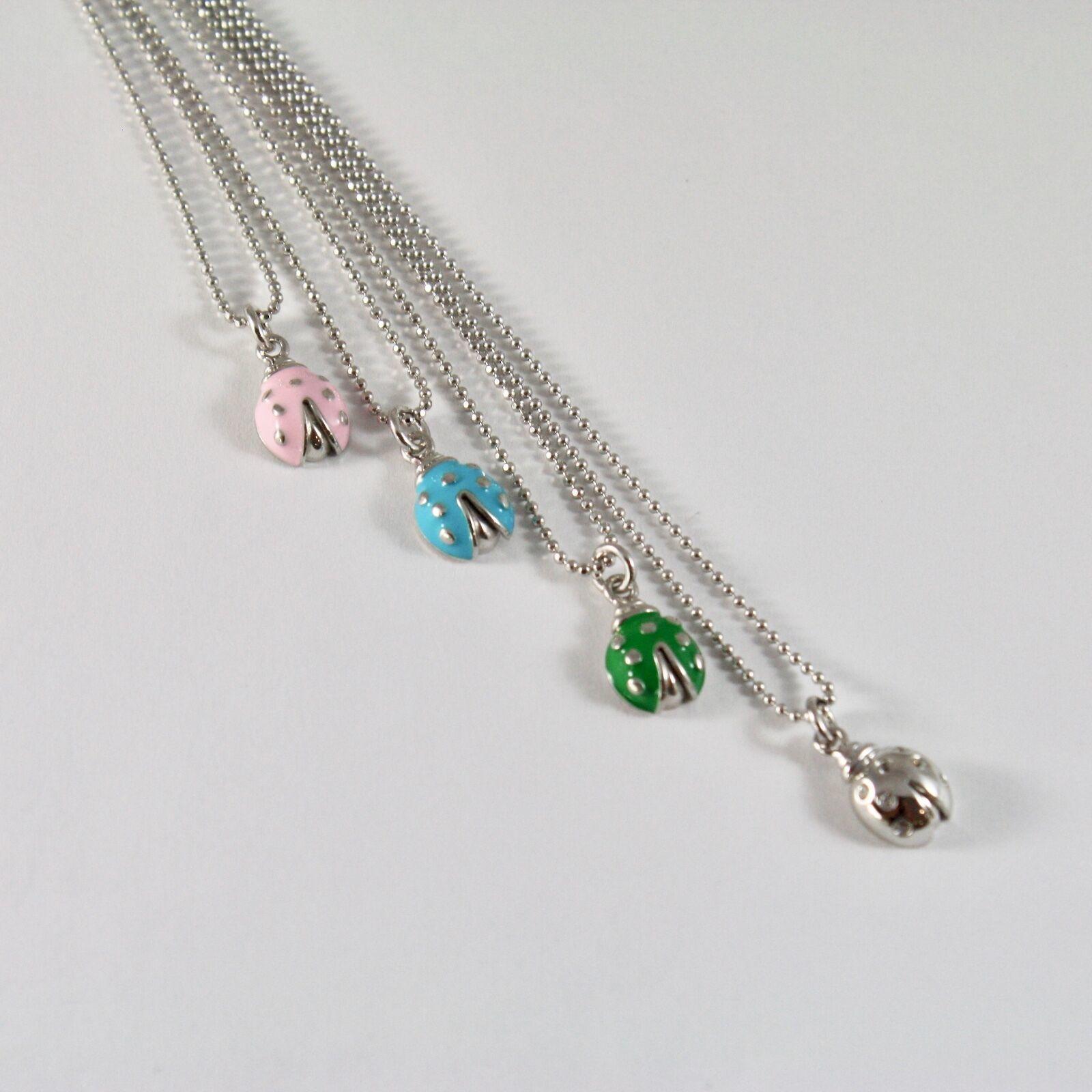 Silver Necklace 925 Jack&co with Balls Shiny and Ladybug Enamelled 45 CM