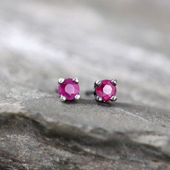 Primary image for 925 Sterling Silver Genuine Ruby Gemstone Stud Earrings Handmade Vintage Style
