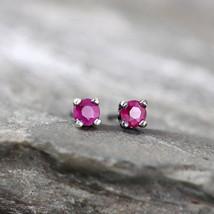 925 Sterling Silver Genuine Ruby Gemstone Stud Earrings Handmade Vintage Style - $242.17